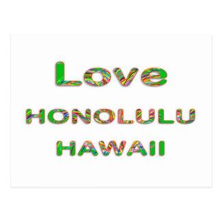 LOVE Honolulu Hawaii Postcard
