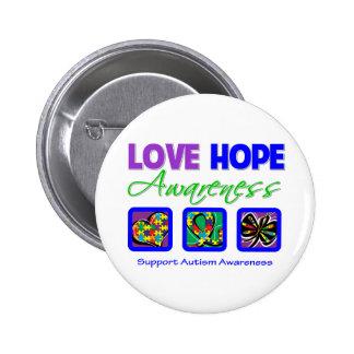 Love Hope Awareness Autism Pinback Button