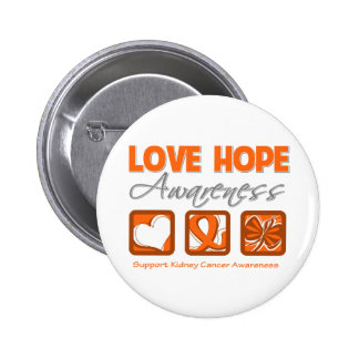 Love Hope Awareness Kidney Cancer Pins