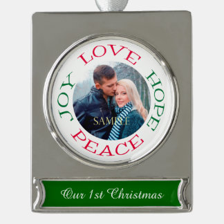 Love Hope Joy Peace Photo Template Silver Plated Banner Ornament