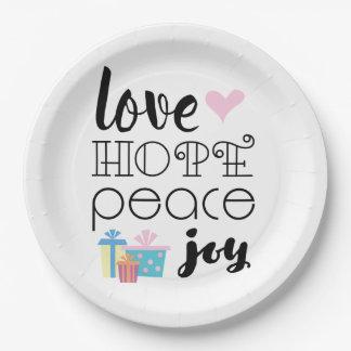 Love, Hope, Peace, Joy • Christmas Paper Plate