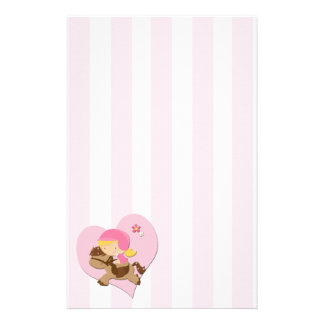 Love Horseriding Pink Stripes Stationery Paper