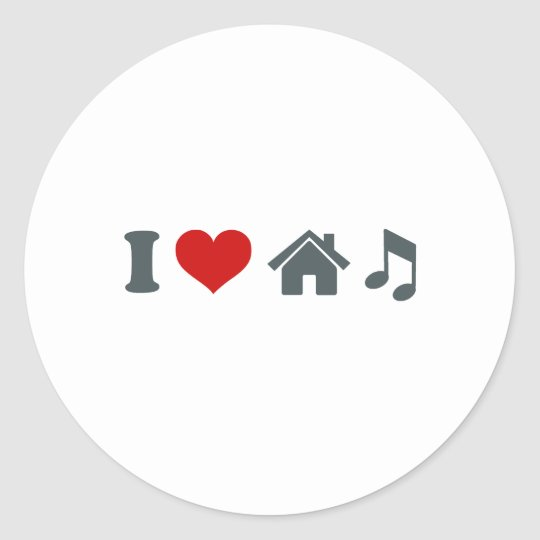 Love House Music Classic Round Sticker