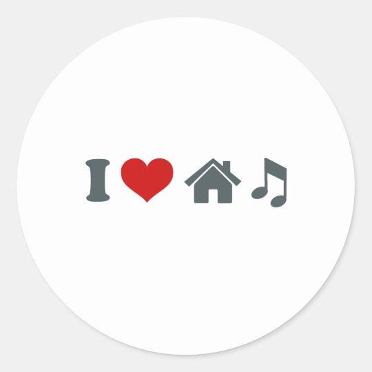 Love House Music Round Sticker