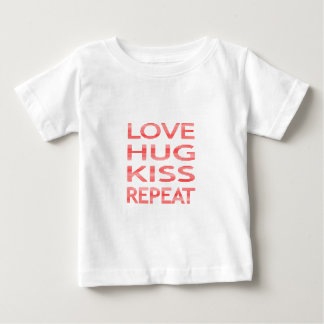 LOVE HUG KISS REPEAT - strips - red and white. Baby T-Shirt