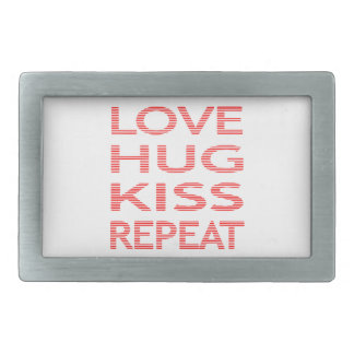 LOVE HUG KISS REPEAT - strips - red and white. Belt Buckles