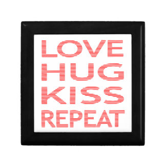 LOVE HUG KISS REPEAT - strips - red and white. Gift Box