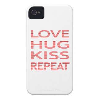 LOVE HUG KISS REPEAT - strips - red and white. iPhone 4 Case-Mate Case