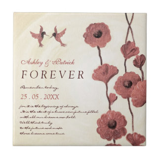 Love Hummingbirds & Painted Red Flowers Gift Small Square Tile