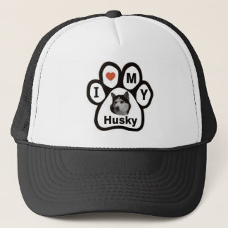 Love Husky Paw Trucker Hat