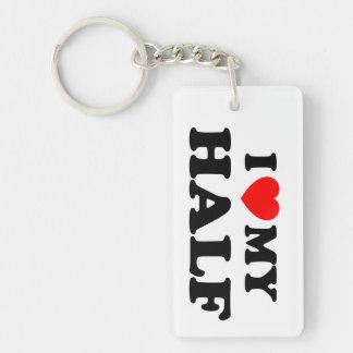 Love I heart My Half Double-Sided Rectangular Acrylic Keychain