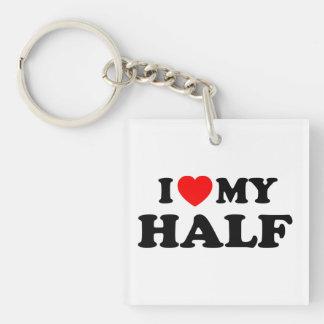 Love I heart My Half Double-Sided Square Acrylic Keychain