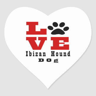 Love Ibizan Hound Dog Designes Heart Sticker