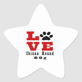 Love Ibizan Hound Dog Designes Star Sticker