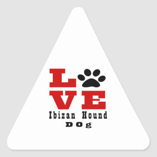 Love Ibizan Hound Dog Designes Triangle Sticker