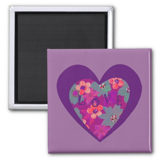 Love in a flowery heart refrigerator magnet