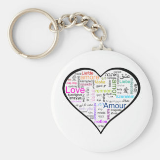 Love in all languages Heart Basic Round Button Key Ring