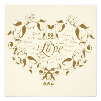 Love in Any Language Gold Wedding Invitation