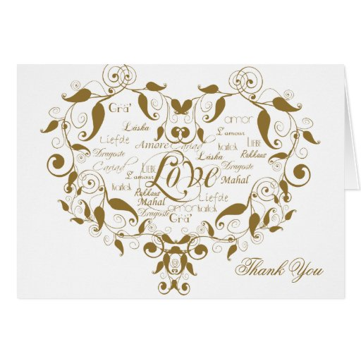 Love in any Language in Gold Thank You card