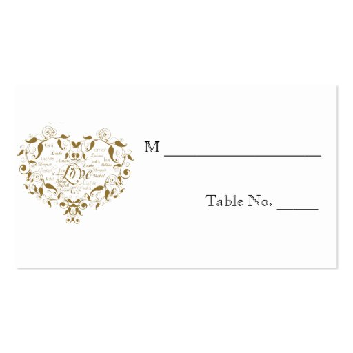 Love in Any Language in Gold Wedding Place Cards Business Cards