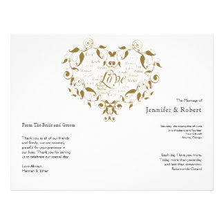 Love in Any Language in Gold Wedding Program 21.5 Cm X 28 Cm Flyer