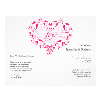 Love in Any Language in Hot Pink Wedding Program 21.5 Cm X 28 Cm Flyer