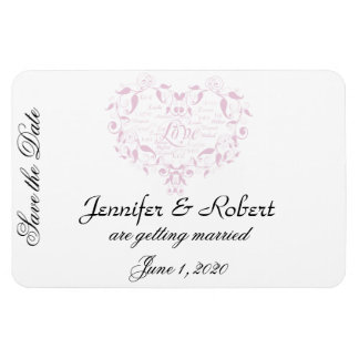 Love in Any Language in Petal Pink Save the Date Rectangle Magnet