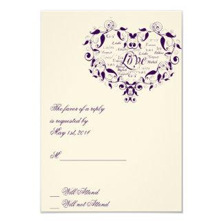 Love in Any Language in Purple Response card 9 Cm X 13 Cm Invitation Card