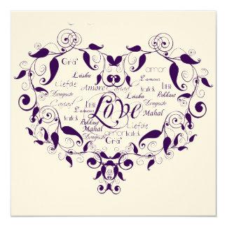 Love in Any Language in Purple Wedding Invitation