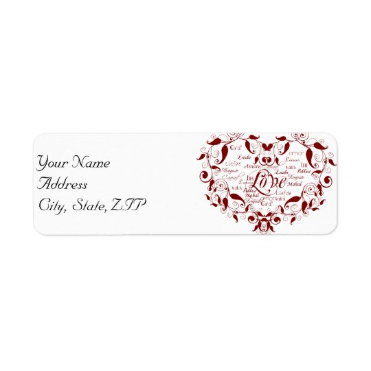 Love in Any Language in Red Address Label