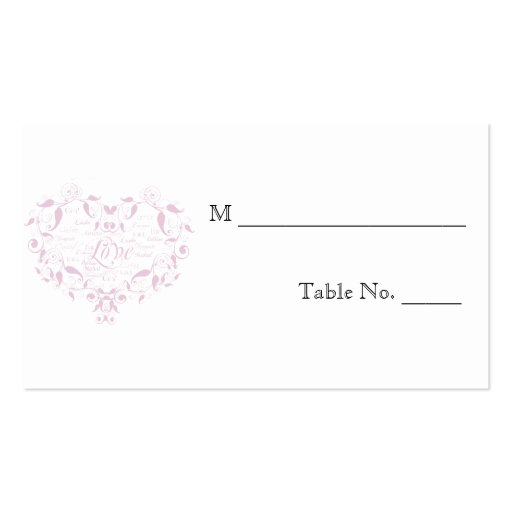 Love in Any Language Pink Wedding Place Cards Business Card