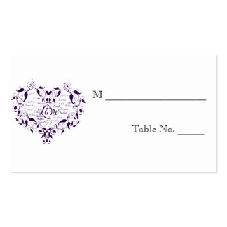 Love in Any Language Purple Wedding Place Cards Business Card Templates