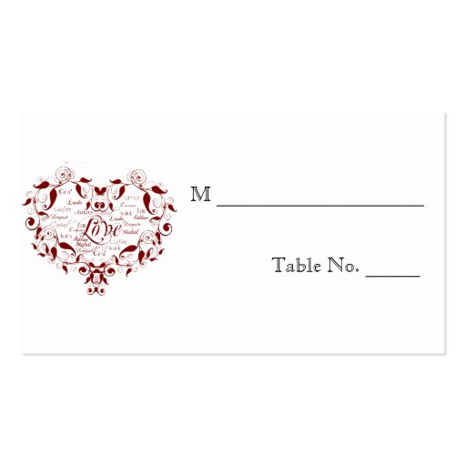 Love in Any Language Red Wedding Place Cards Business Cards