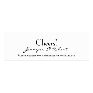 Love in Any Language Silver Wedding Drink Tickets Business Cards