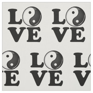 Love in Balance Shiny Yin Yang Symbol Fabric