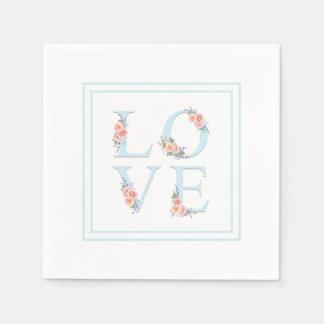 Love in Bloom Pastel Floral Alphabet Disposable Serviette
