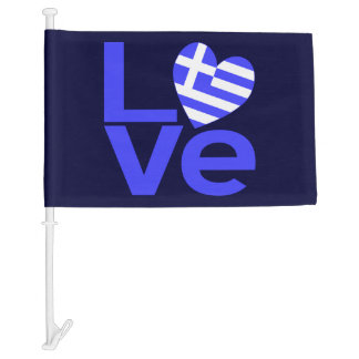 LOVE in Blue with Greek Flag Heart