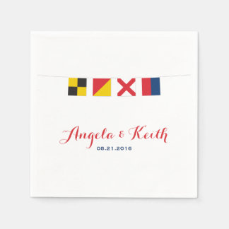 LOVE in Colorful Nautical Flags Paper Napkins