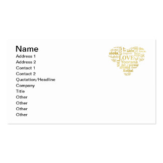 Love in Different Languages in a Heart Shape -Gold Pack Of Standard Business Cards