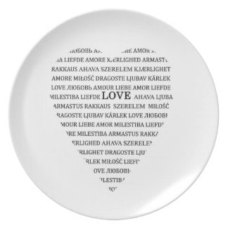 Love in different languages plate