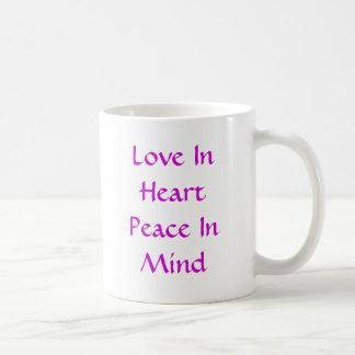 Love In Heart Peace In Mind Basic White Mug