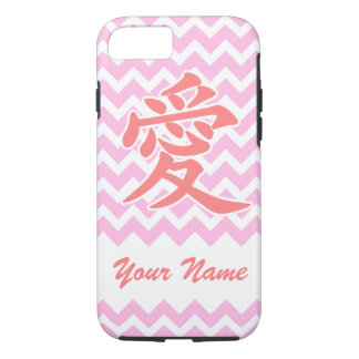 Love in Japanese with Pink Chevron Pattern iPhone 7 Case