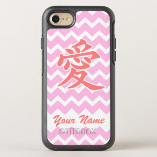 Love in Japanese with Pink Chevron Pattern OtterBox Symmetry iPhone 7 Case