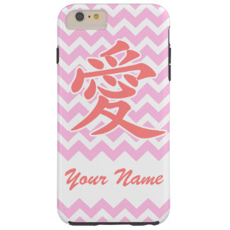 Love in Japanese with Pink Chevron Pattern Tough iPhone 6 Plus Case