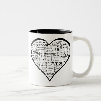 Love in many languages Heart Two-Tone Coffee Mug
