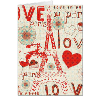 Love In Paris-Eiffel Tower Flowers And Hearts Card