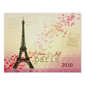 Love in Paris Eiffel Tower Poster