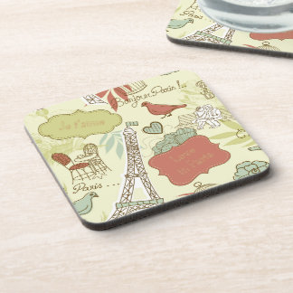 Love in Paris Pattern Beverage Coaster