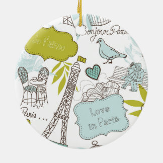 Love in Paris Pattern Ceramic Ornament