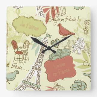 Love in Paris Pattern Clocks